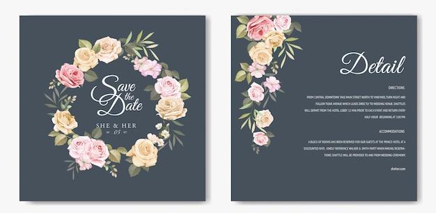 Carte d'invitation de mariage avec beau modèle floral Vecteur Premium