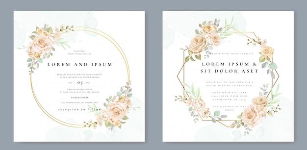 Carte d'invitation de mariage avec belle floral et feuilles Vecteur Premium