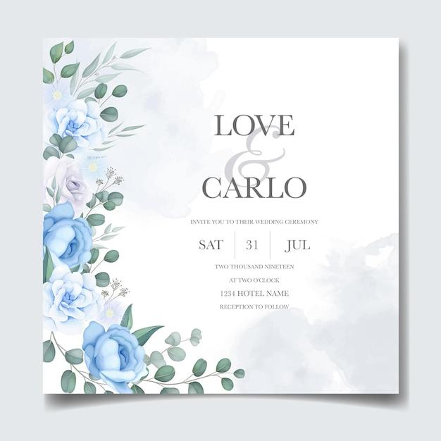 Carte D'invitation De Mariage Avec Belle Main Dessiner Floral Vecteur gratuit