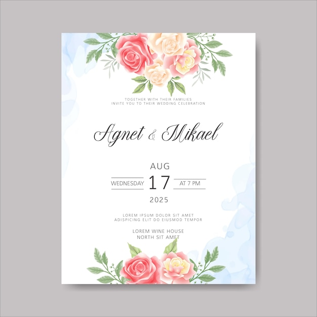 Carte d'invitation de mariage avec de belles fleurs et feuilles Vecteur Premium