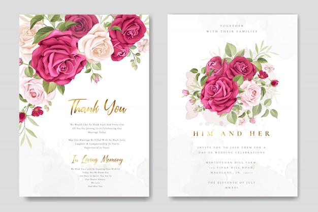 Carte d'invitation de mariage avec de belles roses Vecteur Premium