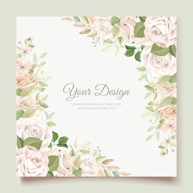 Carte D'invitation De Mariage Avec De Belles Roses Vecteur gratuit