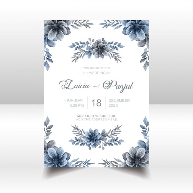 Carte d'invitation de mariage bleu élégant avec cadre floral aquarelle Vecteur Premium