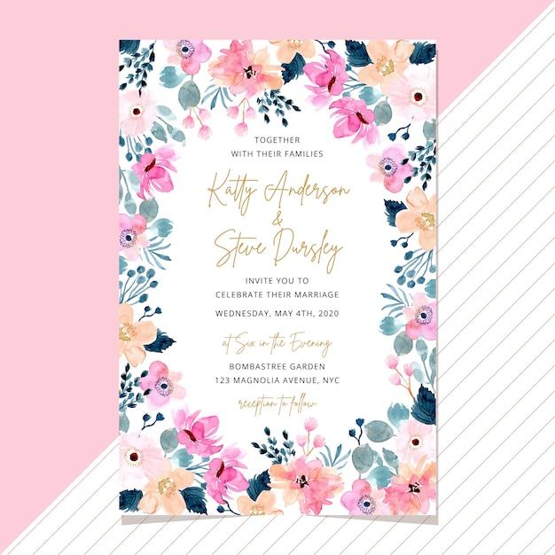 Carte d'invitation de mariage avec cadre floral aquarelle Vecteur Premium