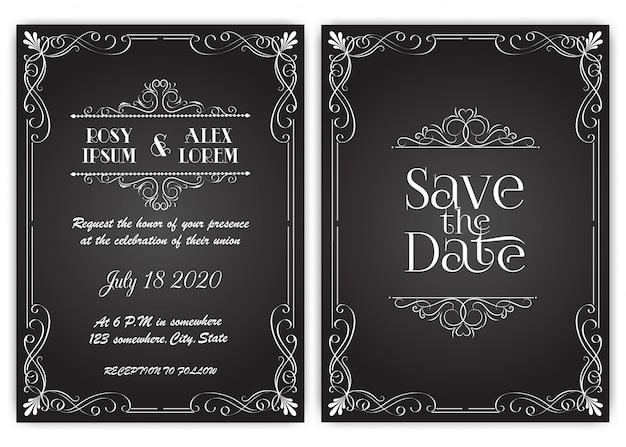Carte d'invitation de mariage cadre floral dessiné à la main. Vecteur Premium