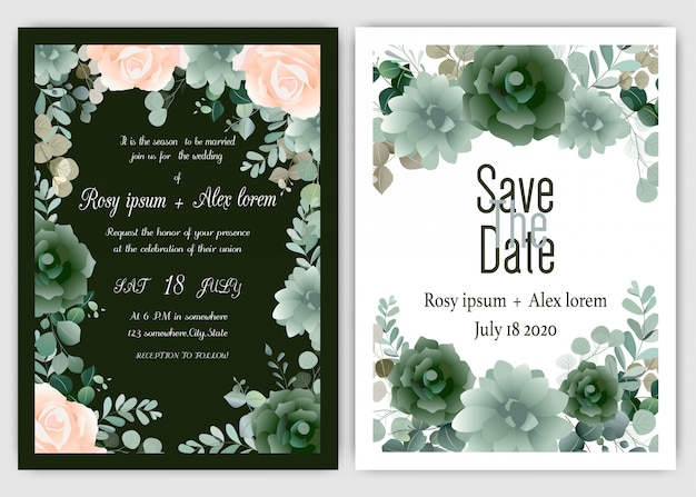 Carte d'invitation de mariage cadre floral dessiné à la main Vecteur Premium