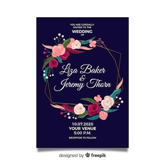 Carte d'invitation de mariage cadre floral Vecteur gratuit
