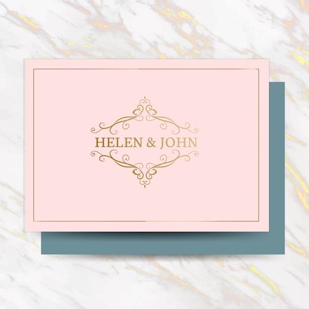 Carte d'invitation de mariage classique Vecteur gratuit
