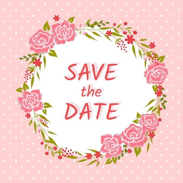 Carte d'invitation de mariage avec couronne florale. réserve cette date Vecteur Premium