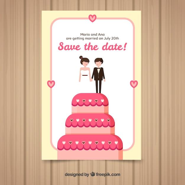 Carte d'invitation de mariage dans un style plat Vecteur gratuit