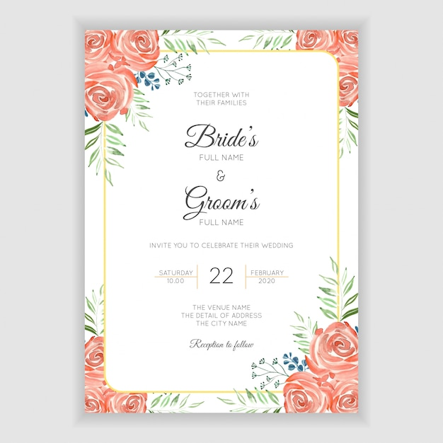 Carte d'invitation de mariage avec décoration florale aquarelle Vecteur Premium