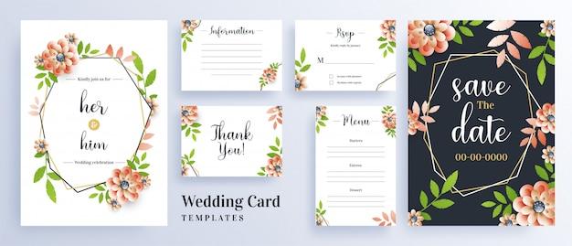 Carte d'invitation de mariage décorée de belles fleurs Vecteur Premium