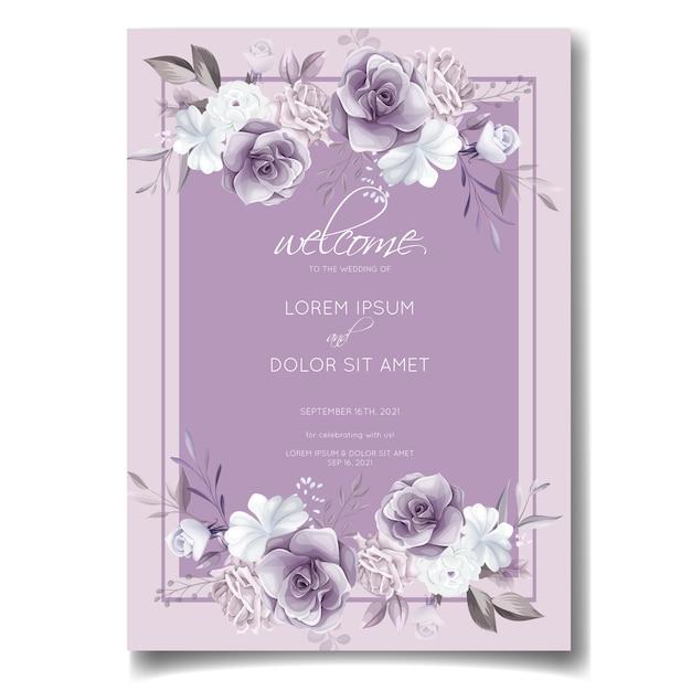 Carte D'invitation De Mariage élégant Avec De Belles Fleurs Violettes Et Blanches Vecteur Premium