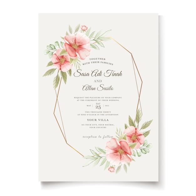 Carte D'invitation De Mariage élégant Chien Aquarelle Fleurs Roses Vecteur gratuit
