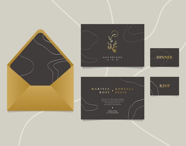 Carte d'invitation de mariage élégant avec dessin au trait abstrait et logo doré Vecteur Premium