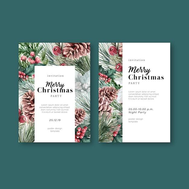 Carte d'invitation de mariage élégant floral floral hiver pour décoration vintage belle Vecteur gratuit