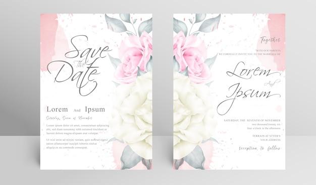 Carte D'invitation De Mariage élégante Sertie D'éclaboussures Florales Et Aquarelles Vecteur Premium