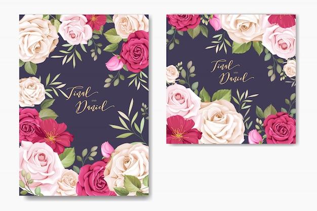 Carte d'invitation de mariage avec des éléments floraux Vecteur Premium