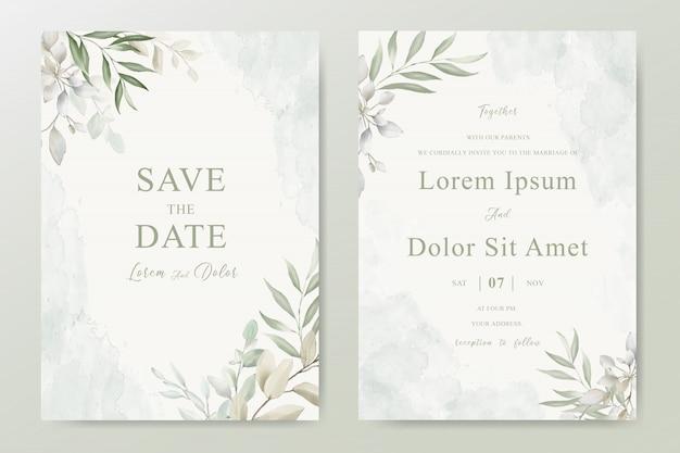 Carte D'invitation De Mariage Avec Feuillage Vecteur Premium