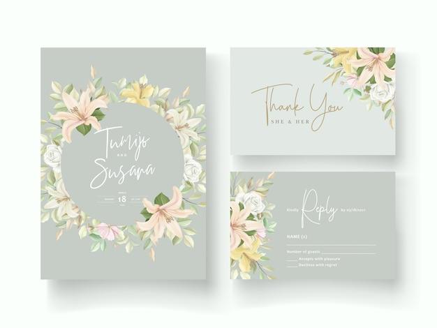 Carte D'invitation De Mariage Fleur De Lys Vecteur gratuit