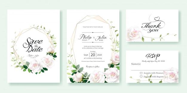 Carte d'invitation de mariage fleur rose blanche Vecteur Premium