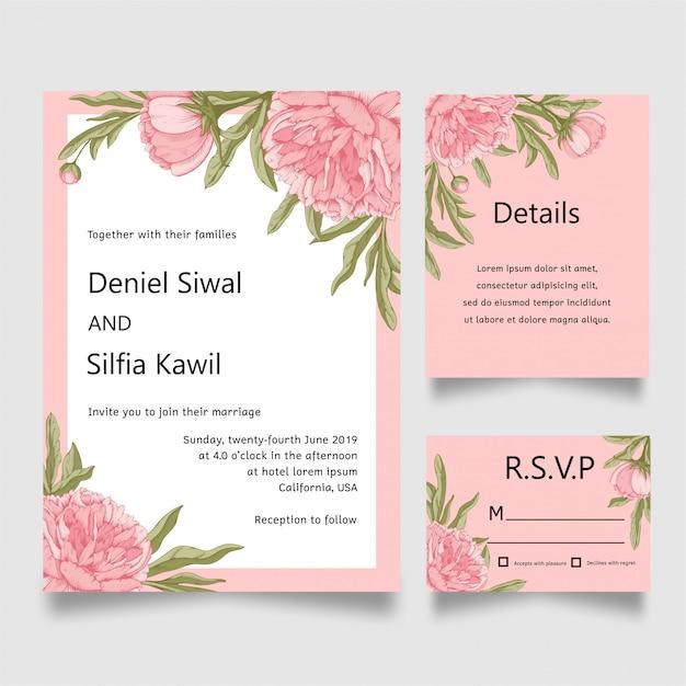 Carte d'invitation de mariage fleur Vecteur Premium