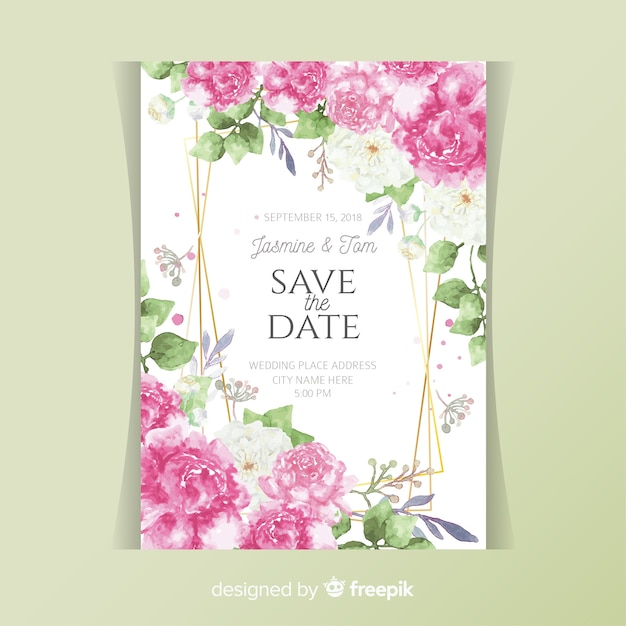 Carte d'invitation de mariage avec des fleurs de pivoine Vecteur gratuit
