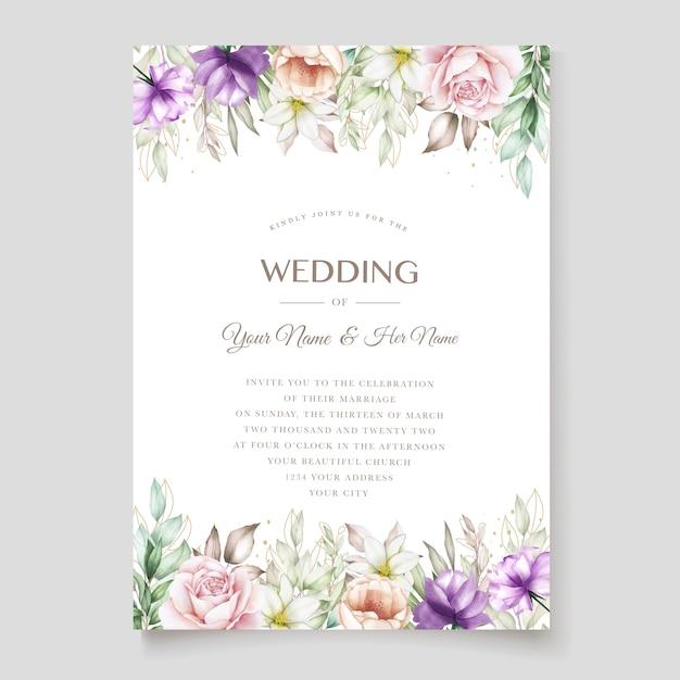 Carte D'invitation De Mariage Avec Floral Aquarelle Vert Tendre Vecteur gratuit
