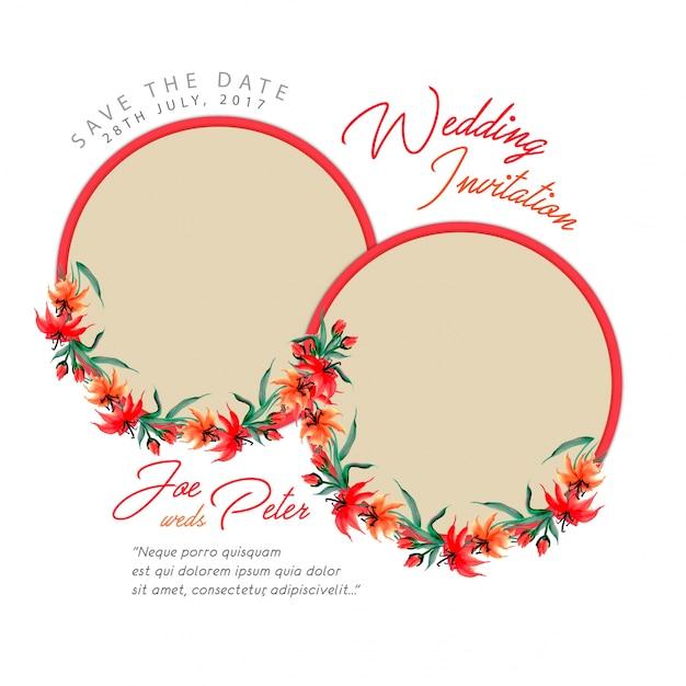 Carte D'invitation De Mariage Floral D'aquarelle Vecteur gratuit