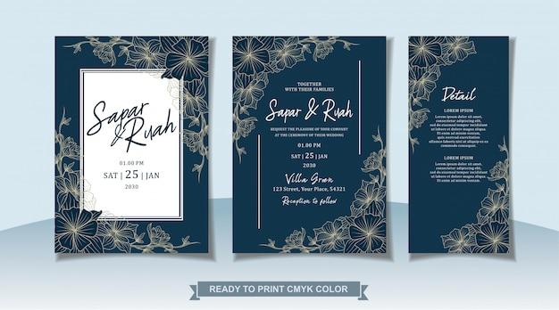 Carte D'invitation De Mariage Floral Avec Croquis De Luxe élégant Vecteur Premium