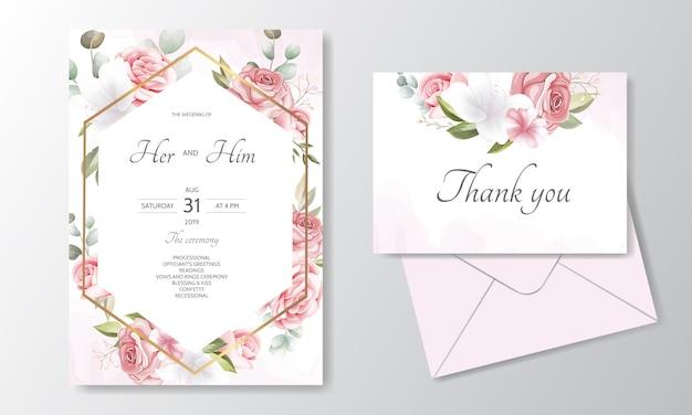 Carte D'invitation De Mariage Floral Dessiné à La Main Vecteur Premium
