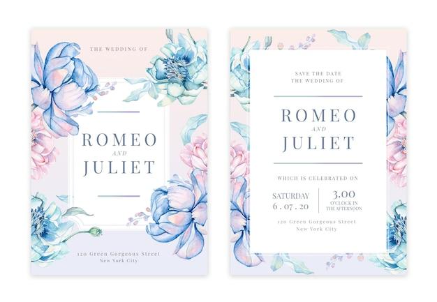 Carte d'invitation de mariage floral dessinée à la main Vecteur Premium