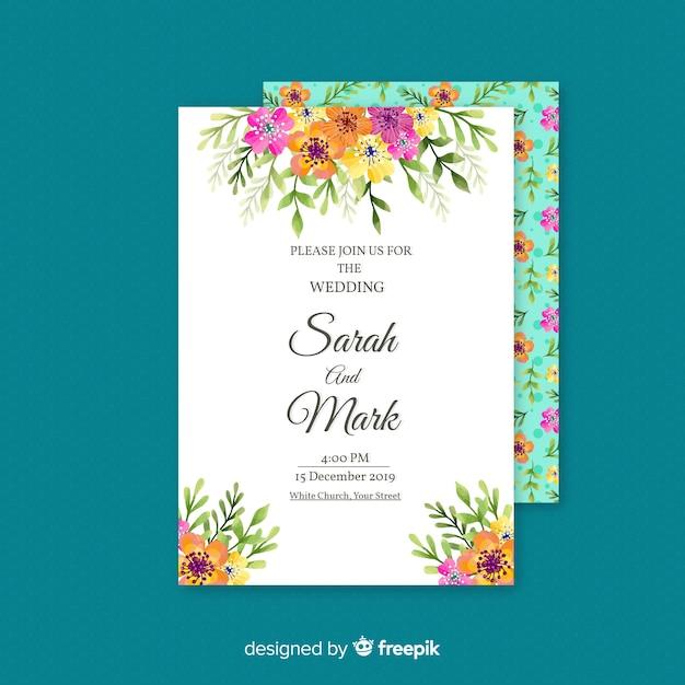 Carte d'invitation de mariage floral élégant Vecteur gratuit