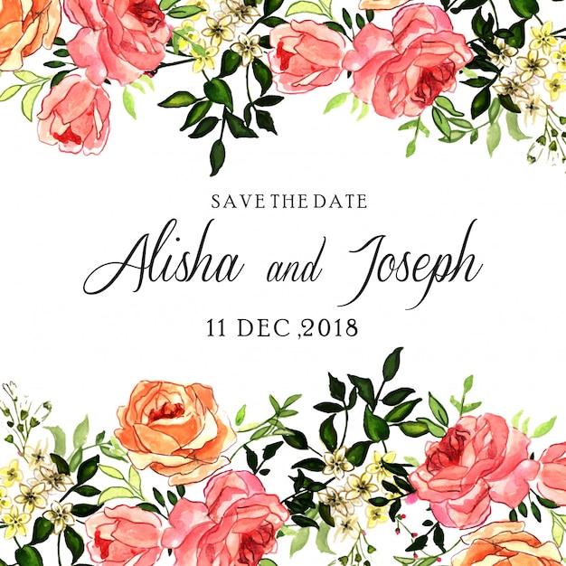 Carte d'invitation de mariage floral rose rose aquarelle Vecteur Premium