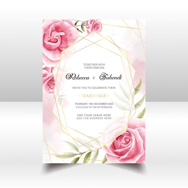 Carte D'invitation De Mariage Floral Vintage Aquarelle Vecteur Premium
