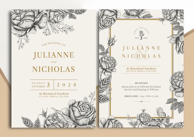 Carte D'invitation De Mariage Floral Vintage Dessinée à La Main Vecteur Premium