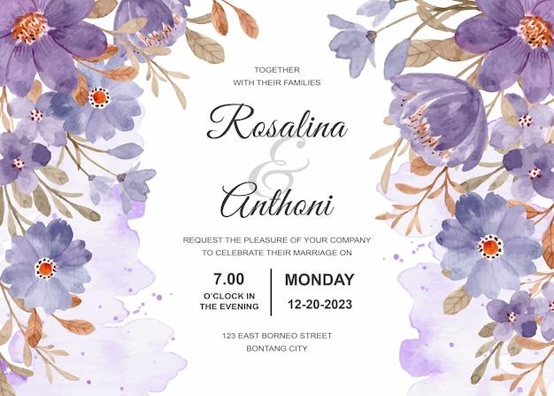 Carte D'invitation De Mariage Avec Floral Violet Vecteur Premium
