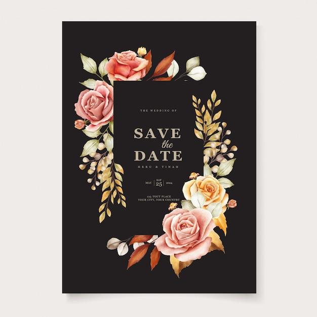 Carte D'invitation De Mariage Floral Vecteur gratuit