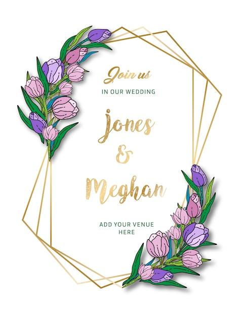 Carte d'invitation de mariage floral Vecteur Premium