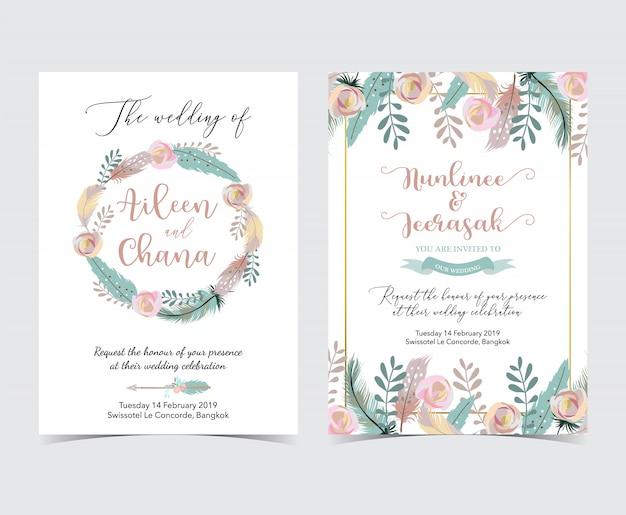 Carte d'invitation de mariage géométrique or avec fleur, feuille, couronne et cadre Vecteur Premium