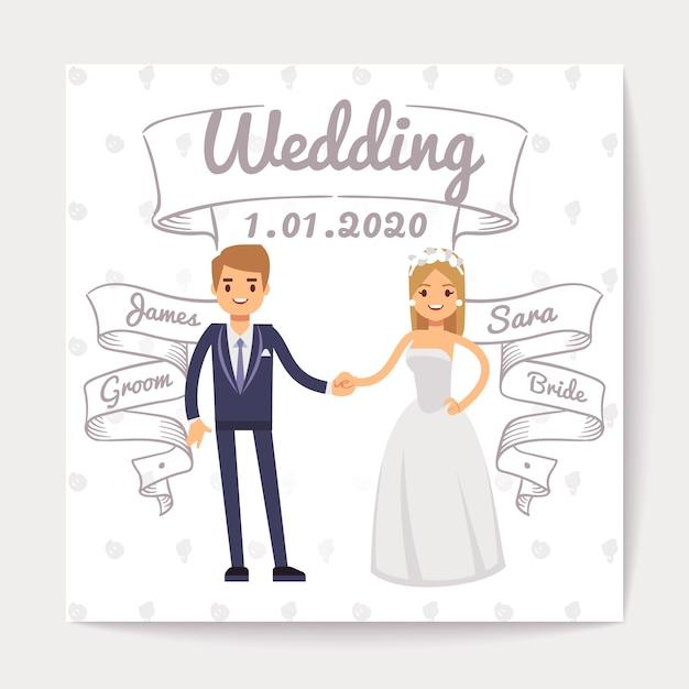 Carte d'invitation de mariage avec un jeune couple juste marié et leurs noms sur des rubans dessinés à la main Vecteur Premium
