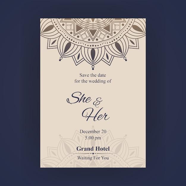 Carte d'invitation de mariage de luxe Vecteur Premium
