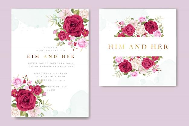 Carte d'invitation de mariage magnifique avec couronne florale et feuilles Vecteur Premium