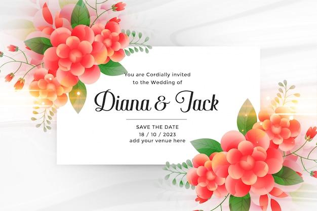 Carte d'invitation de mariage magnifique avec une décoration florale Vecteur gratuit