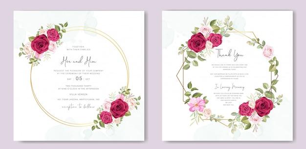 Carte d'invitation de mariage magnifique avec modèle de cadre floral Vecteur Premium