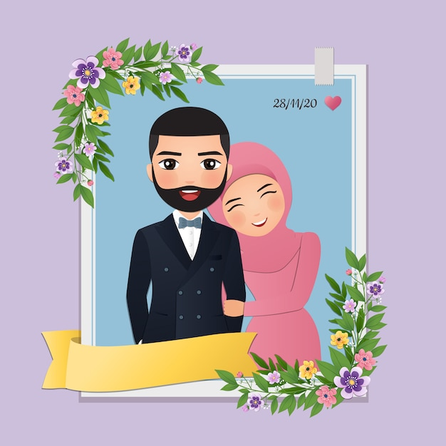 Carte D'invitation De Mariage La Mariée Et Le Marié Dessin Animé Mignon Couple Musulman Vecteur Premium