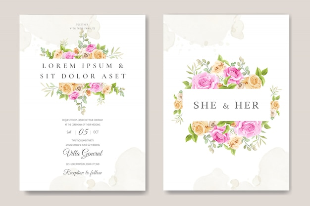 Carte d'invitation de mariage avec modèle de belles roses Vecteur Premium