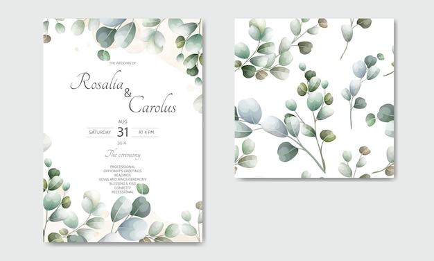 Carte d'invitation de mariage avec modèle de feuilles d'eucalyptus Vecteur Premium