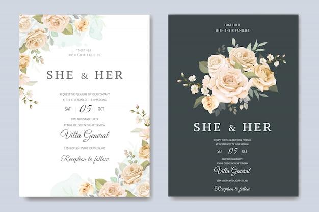 Carte d'invitation de mariage avec modèle floral Vecteur Premium