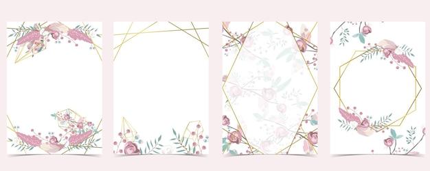 Carte D'invitation De Mariage En Or Rose Géométrie Avec Rose, Feuille, Couronne, Plume Et Cadre Vecteur Premium
